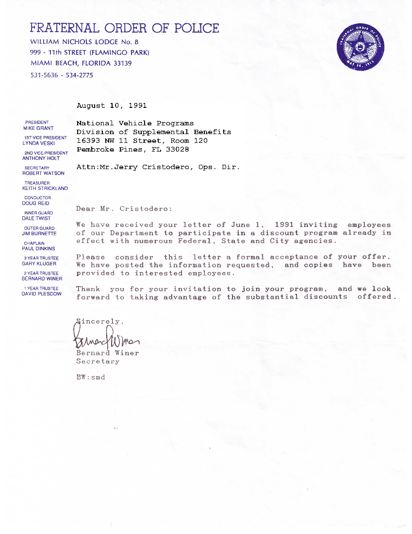 Letter To Police Department Sample