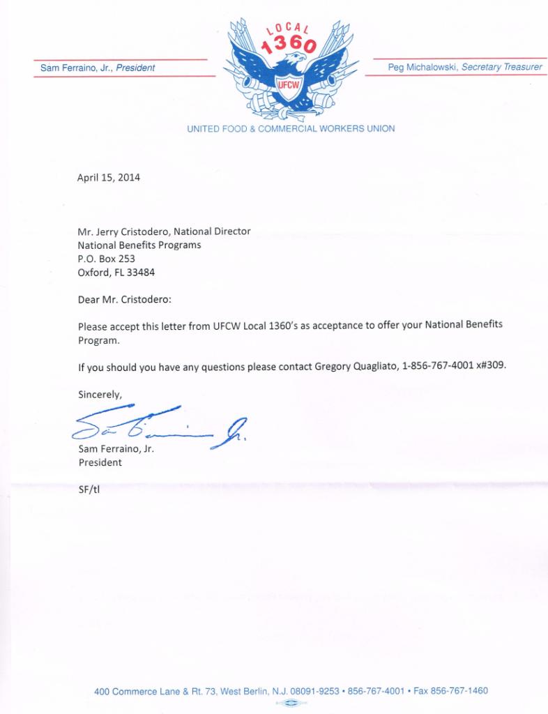 Local UFCW 1360 Acceptance Letter