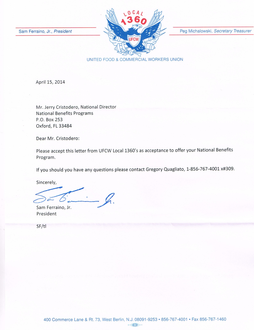 ufcw local acceptance letter national benefits programs local ufcw 1360 acceptance letter
